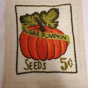 Vintage Pumpkin Seeds Embroidery Picture